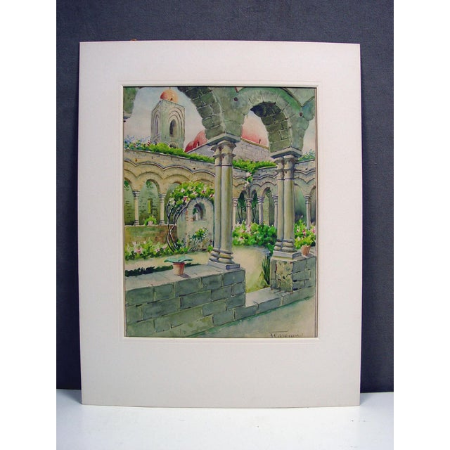 Courtyard Garden Watercolor Painting For Sale - Image 4 of 4