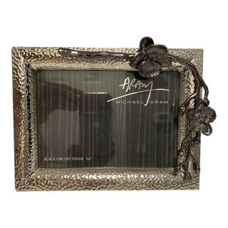 Michael Aram Black Orchid Picture Frame for 5x7 Photo For Sale