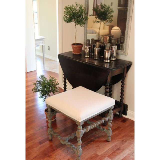 Linen Swedish Baroque Period Square Stool, 18th Century Antique For Sale - Image 7 of 8