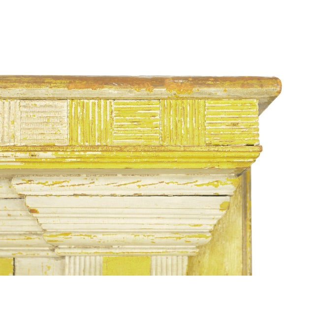 Neoclassical Federal Antique Fireplace Surround Mantel in Early Yellow & White Paint For Sale - Image 9 of 13