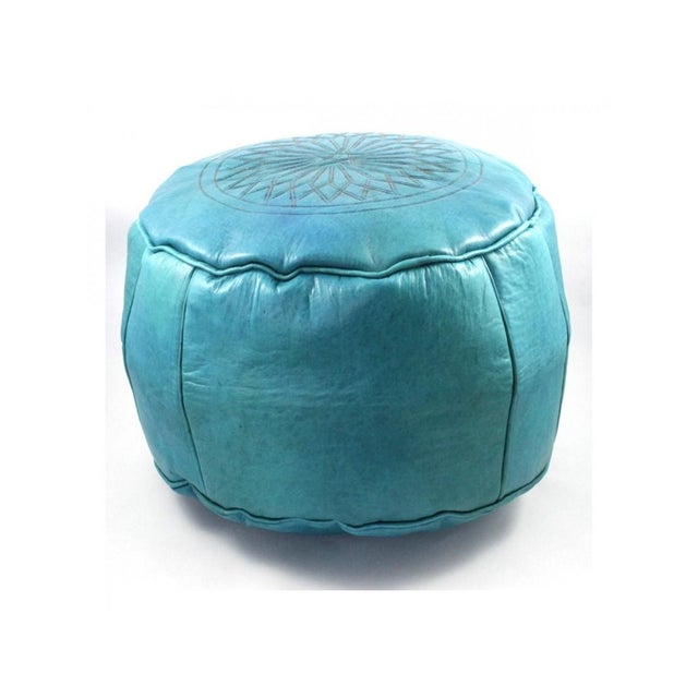 Turquoise Moroccan Leather Pouf Ottoman - An extremely functional item, the pouf may be used as a footstool an ottoman /...