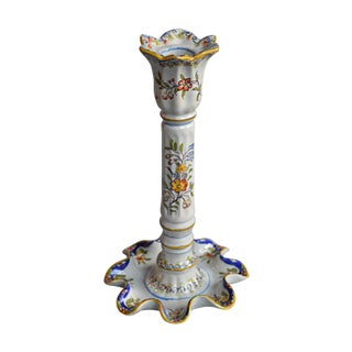 Handpainted Faience Candlestick For Sale