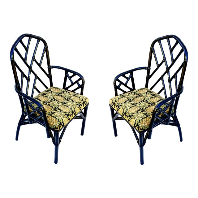 Vintage Bamboo Chippendale Arm Chairs - A Pair For Sale