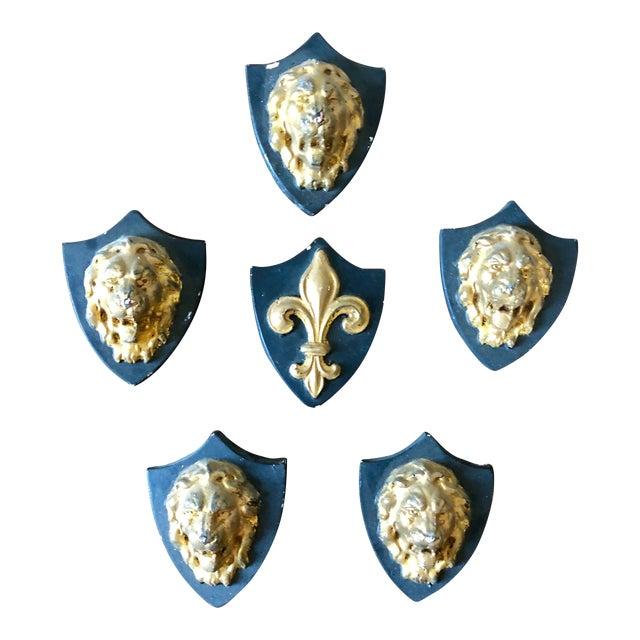 Antique French Plaster Lion Shield Plaques- Set of 6 For Sale