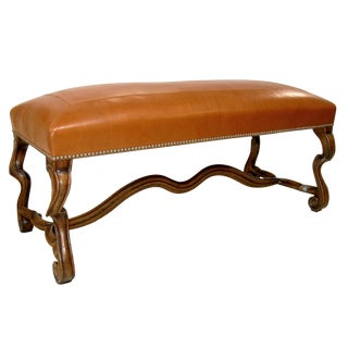 Customizable Carved Italian Stradivari Walnut & Leather Bench by Randy Esada Designs For Sale
