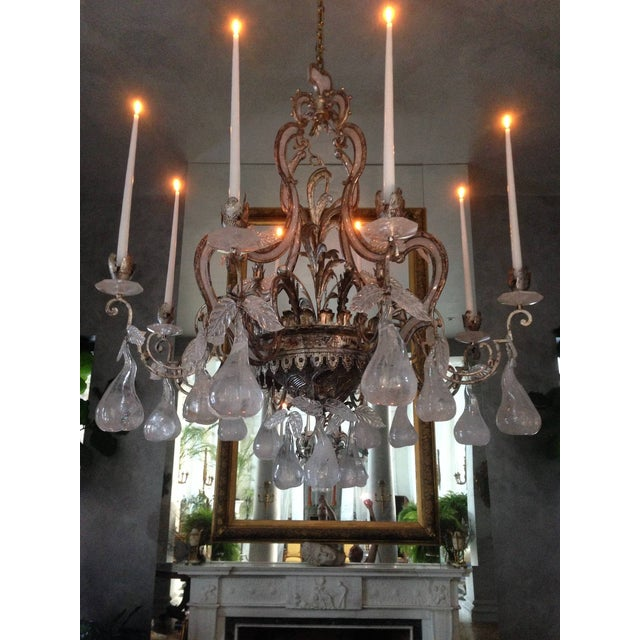 Large Silvered Iron and Rock Crystal, Eight-Arm Chandelier For Sale - Image 10 of 11