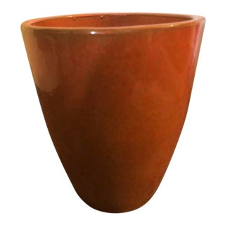 Contemporary Burnt Orange Ceramic Planter For Sale