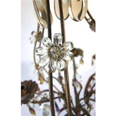 French Candle Chandelier With Crystal Drops For Sale - Image 4 of 8