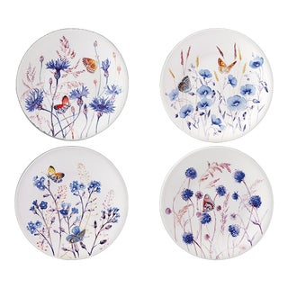Gien France Azure Dessert Plates With Butterflies - Set of 4 For Sale