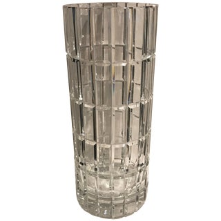 20th Century French Cartier Cylindrical Crystal Vase For Sale