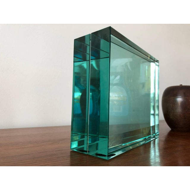 Contemporary 1980s Minimalist Fontana Arte Green Glass Picture Frame For Sale - Image 3 of 5