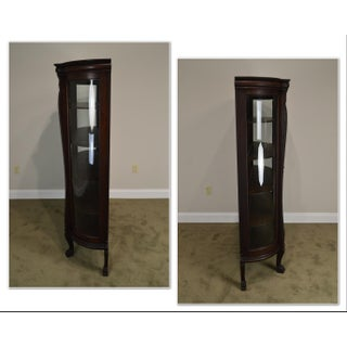 Victorian Oak Antique Bow Glass Claw Foot China Cabinet Preview