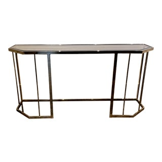 1970's Dia Style Mid Century Modern Smoked Glass and Brass Console Table For Sale