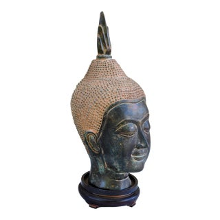 Sukhothai Style Bronze Buddha Head Sculpture on Wooden Stand For Sale