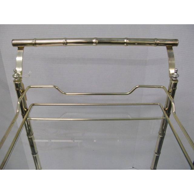 Brass Mid-Century Faux Bamboo Original Glass Bar Cart For Sale - Image 7 of 9