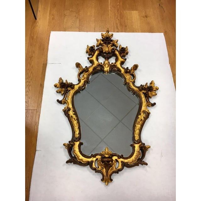 Mid 20th Century Rococo Style Ornate Carved Giltwood Shield Wall Mirror For Sale - Image 5 of 13
