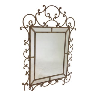 Large Designer Gold Iron Mirror