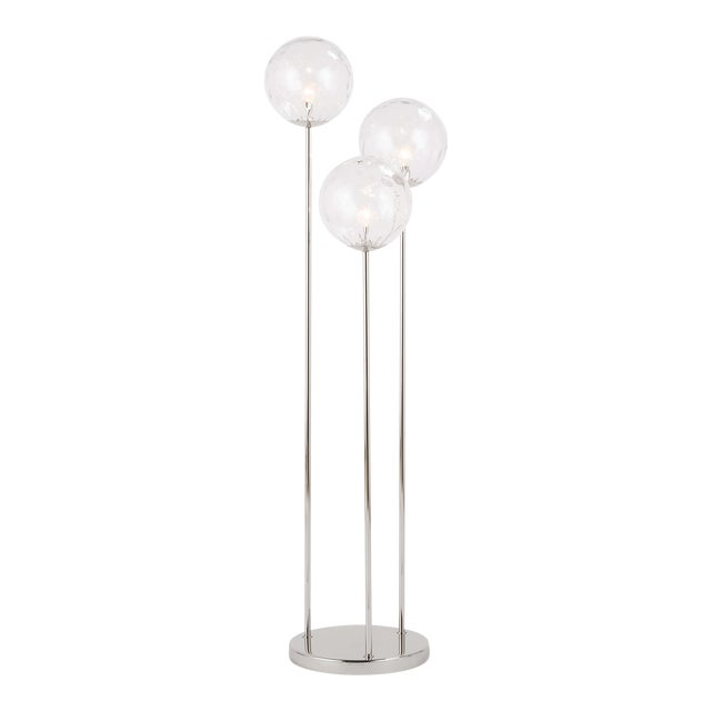 Rio Triple Floor Lamp in Polished Nickel For Sale