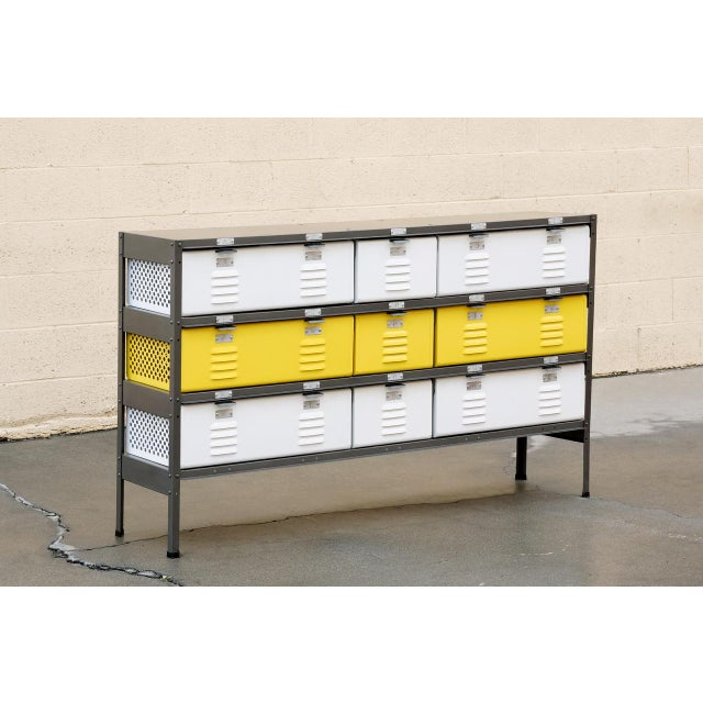 Metal 5 X 3 Locker Basket Unit With Specialty Double Wide Baskets, Custom Made to Order For Sale - Image 7 of 7