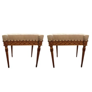 19th Century Italian Painted and Gilt Wood Ottomans - a Pair For Sale