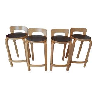 Alvar Aalto for Artek K65 Brentwood Bar Stools - Set of 4