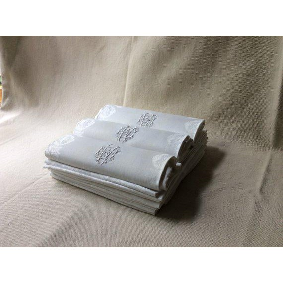 French 19th Century French Linen Napkins - Set of 12 For Sale - Image 3 of 11