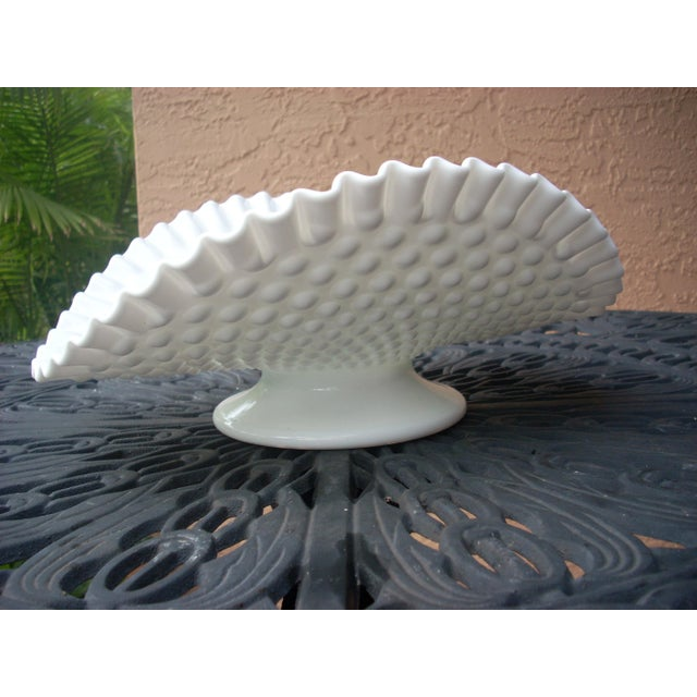 Vintage classic white milk glass in the traditional hobnail pattern; unmarked but probably by Fenton or Westmoreland;...