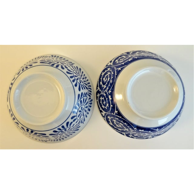 2010s Chinoiserie Blue & White Serving Bowls - A Pair For Sale - Image 5 of 11