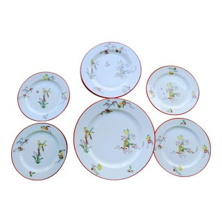 17 Piece j.p. Limoges France Pouyat Peacock Floral Dinnerware Plates For Sale