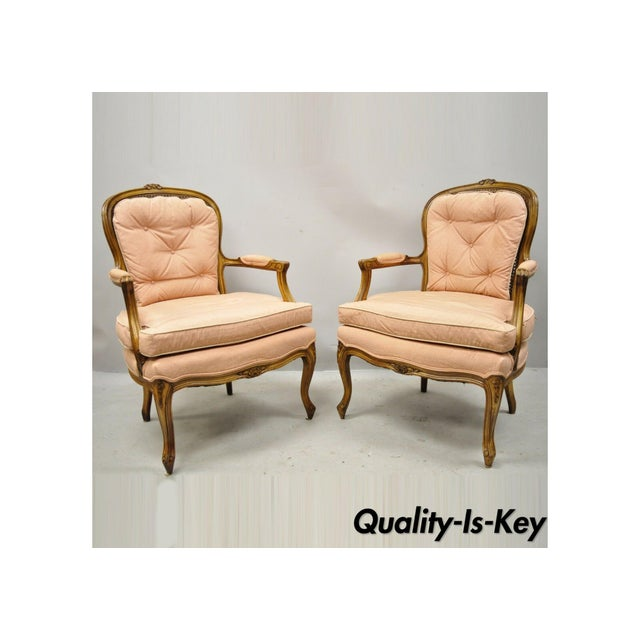 French Louis XV Provincial Style Carved Walnut Cane Back Arm Chairs - a Pair For Sale - Image 11 of 11