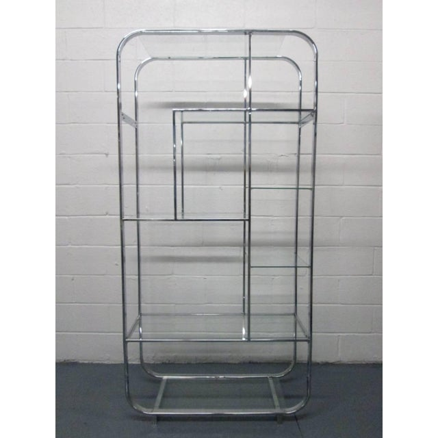 Curved, Chrome Etagere Manner of Design Institute of America For Sale - Image 4 of 4