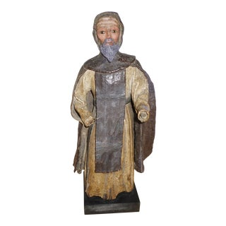 18th Century Santos Figure, Carved and Gessoed Wood For Sale