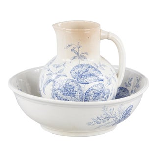 French Sarreguemines Ceramic Pitcher & Bowl, 1920s For Sale
