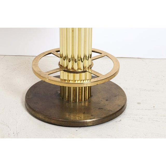 Design For Leisure Design for Leisure Art Deco Revival Brass Counter Stools - a Pair For Sale - Image 4 of 12