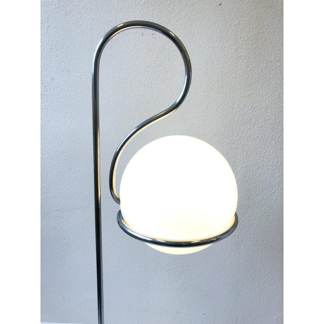 1970s 1970s Chrome and White Glass Globe Floor Lamp For Sale - Image 5 of 8