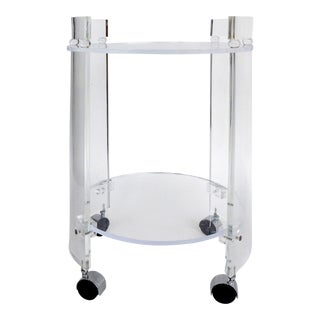 Tall Round Custom Lucite & Glass Bar Cart on Casters For Sale