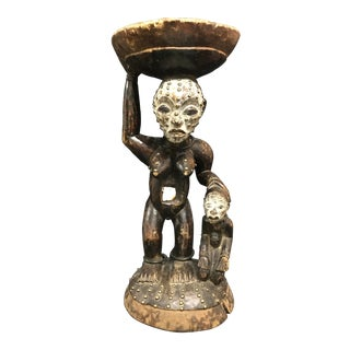 African Tribal Art Bacongo Maternity Stool Sculpture For Sale