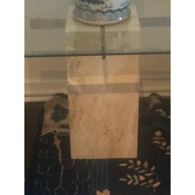 Brass & Glass Travertine End Table - Image 5 of 7
