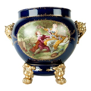 Vintage Pair Limoges Porcelain Jardiniere/Cache Pot For Sale