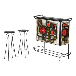 1950s Midcentury Dry Bar Signed J. Belarti - 3 Pieces For Sale