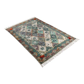 Boho Tribal Green Embroidered and Pom Cotton Rug - 4′ × 6′ For Sale