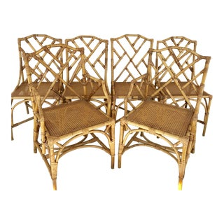 Chinese Chippendale Bamboo Rattan Dining Chairs - Set of 6 For Sale