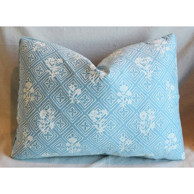 """Early 21st Century Blue & White Italian Mariano Fortuny Feather/Down Pillows 22"""" X 16"""" - Pair For Sale - Image 5 of 13"""