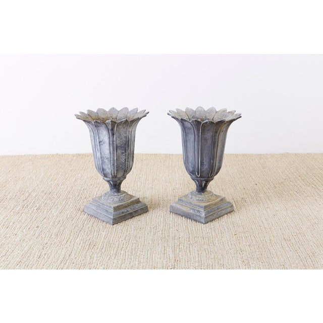 Iron Pair of French Neoclassical Tulip Form Garden Urn Planters For Sale - Image 7 of 13