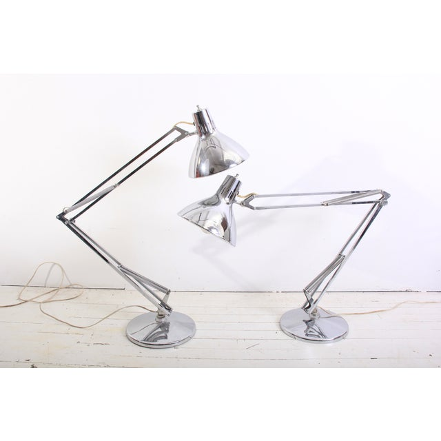 Large Vintage Industrial Chrome Task Lamps - Pair - Image 3 of 6