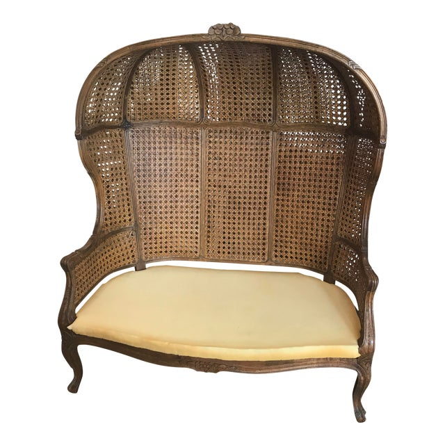 Louis XV Style Double Canned Hooded Porter Settee For Sale