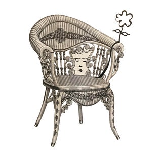 Lady in a Victorian Wicker Chair Drawing and Collage For Sale