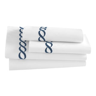 Catena King Pillowcase, Set of 2 in Navy For Sale