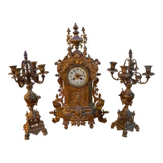 Antique Gilt Bronze Mantle Clock and Two Candelabras - 3 Piece Garniture Set For Sale