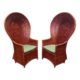 Vintage Rattan Bamboo Peacock Chairs - a Pair For Sale